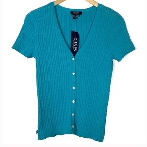 Chaps Cable Knit Short Sleeve Cardigan